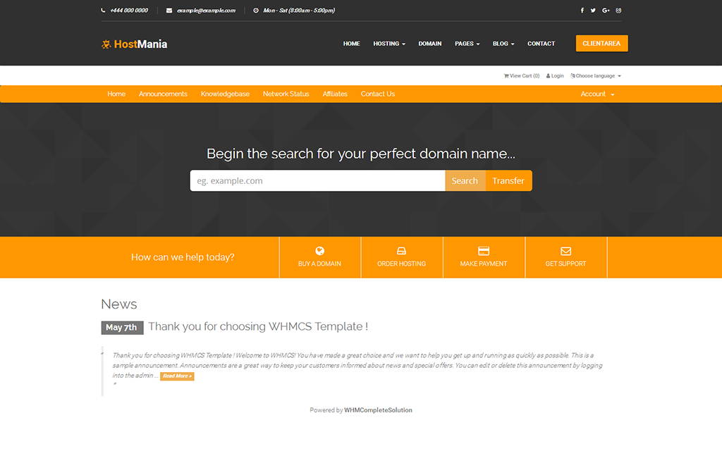 HostMania - Material Design Web Hosting With WHMCS Template