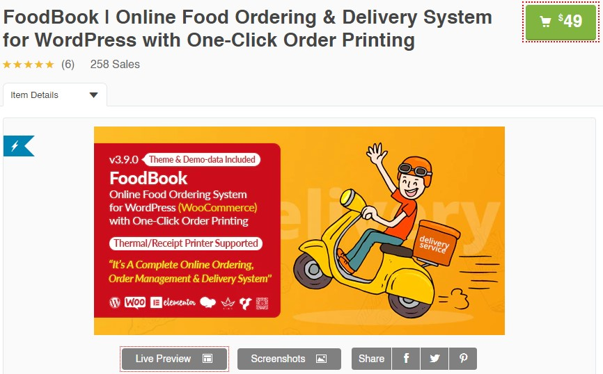 Online Food Ordering & Delivery System for WordPre